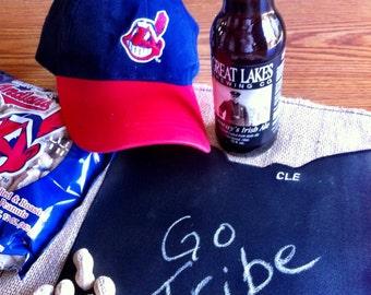 Ohio Chalk Cloth Table Mat - Cleveland, Ohio Burlap Pub Mat