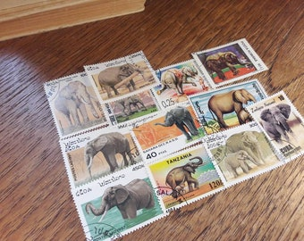 12 Elephant Postage Stamps. Worldwide