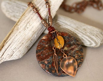 Unisex Large Autum Shade Stone Pendant Antiqued Copper Necklace, Long Gemstone Necklace, Big, Bold Pendant Necklace, Dangling Charm