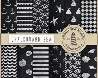 AHOI PARTY, Chalkboard Nautical Paper, Nautical Scrapbook Papers, Chalk Nautical Patterns, Anchors, Sea Stars, Shells, BUY5FOR8