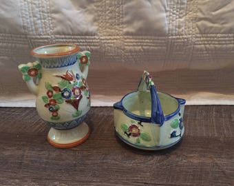 Japanese pottery - Flower Vase and Small Dish