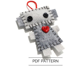 Robot Ornament PDF Pattern - Christmas Robot Decoration - Wool Felt Printable Pattern