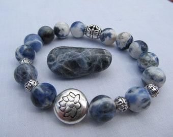Sodalite Lotus Charm Bead Bracelet