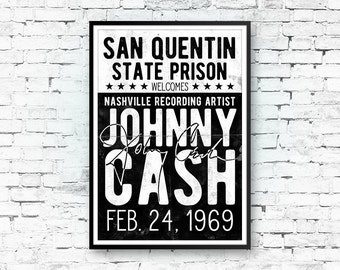 Johnny Cash Art Print, Johnny Cash Poster, Country Music, Johnny Cash Concert Poster, Retro Print