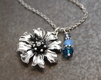 Cornflower Necklace, Bachelor Button Necklace, Flower Necklace, Flower lover Gift, Flower Jewelry, Birthstone Necklace
