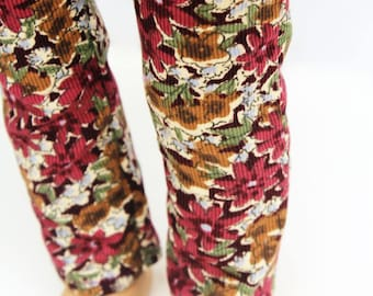 Fits like American Girl Doll Clothes - Burgundy Floral Skinny Corduroy Pants | 18 Inch Doll Clothes