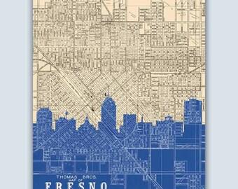 Fresno Skyline, Personalized Skyline Print, Fresno Decor, Fresno Poster, Fresno Art Print, Fresno California, Fresno Map, Fresno Wall Art