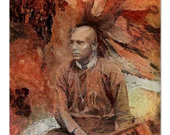 Fine Art Print  of 'Mohawk' Native American Indian. First nations People, Mohican, tribe, American West, wall decor, digital art. JoWalshArt