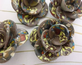 COFFEE COLOR, POLYMER CLAY FLOWERS.