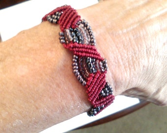 Twisted Red and Gray Bracelet