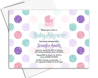 Girl baby shower invitation polkadots | pink mint purple baby girl baby shower invite baby carriage | printable or printed - WLP00708