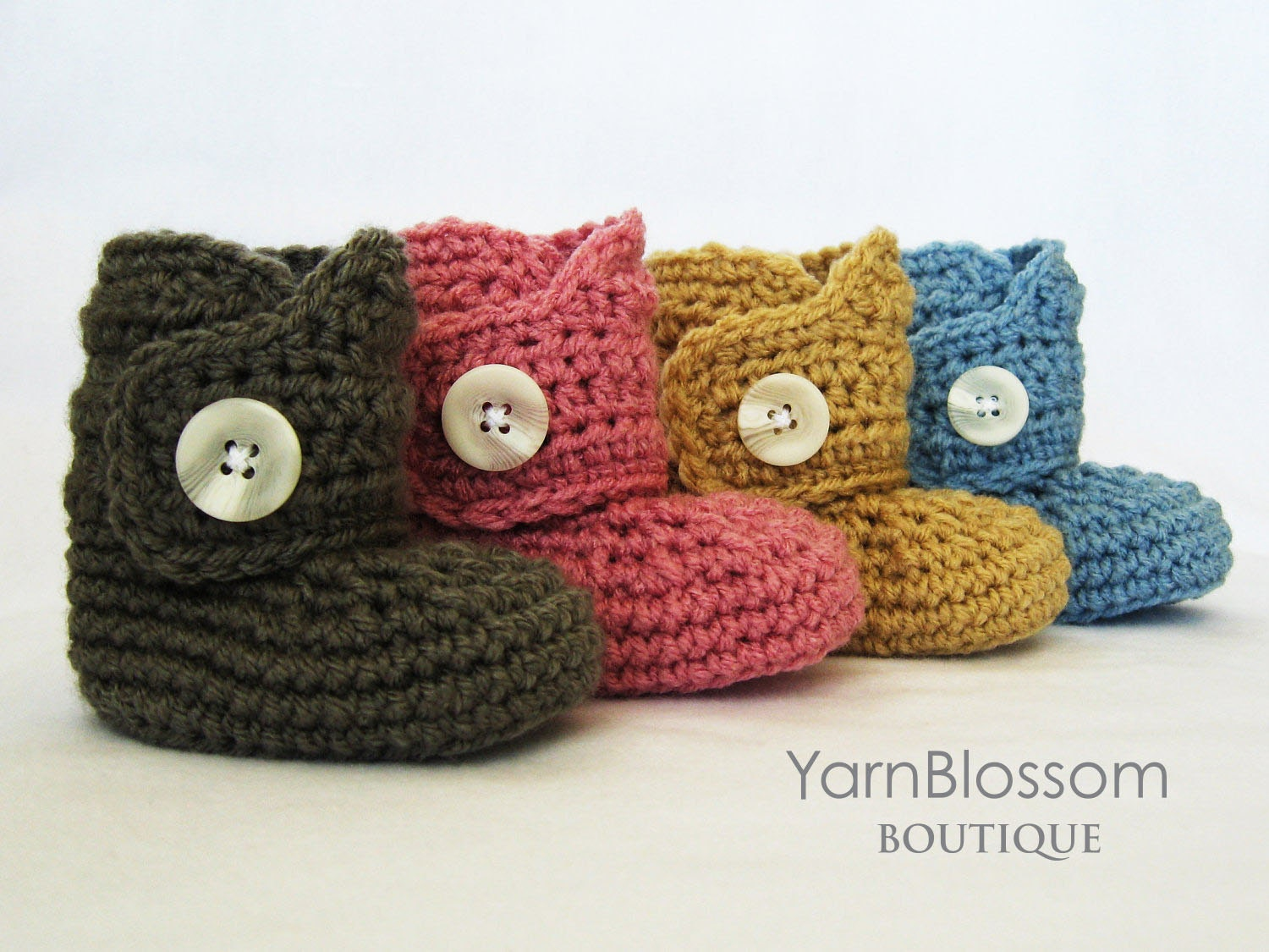CROCHET PATTERN Baby Button Boots crochet booties baby