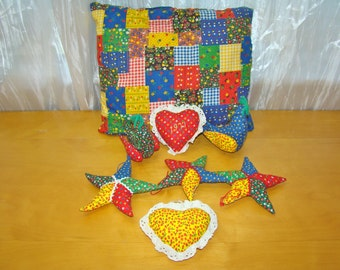 Stars and Hearts Patchwork Calico Pillow and Softies to Hang from Ceiling. Stuffed Ornaments. Vintage Handmade.