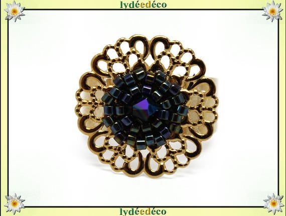 MYSTIC print brass flower ring gold plated 24 carat 24 K woven beads Japanese black and white color 20mm adjustable