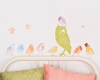 ON SALE Fabric Wall Decal - Twitters Girly (reusable) No PVC
