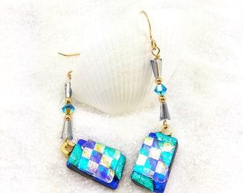 Blue Dichroic Earrings, Fused glass jewelry, Dichroic earrings, Hana Sakura, dichroic  beads, glass fusion, trending now, artisan earrings