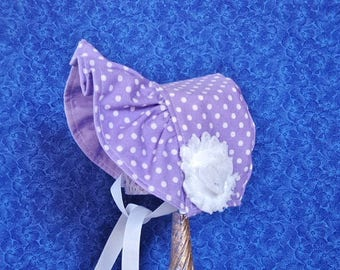 Infant Baby Bonnet Purple with White Polka Dots Reversible