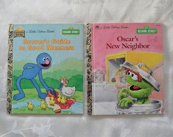 A Little Golden Book Grover's Guide To Good Manners & Oscar's New Neighbor Sesame Street Set Of 2