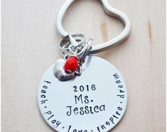 Teacher Gift - Teacher Keychain - Teach, Love, Inspire - Hand Stamped Apple Keychain - 2017 Teacher of the Year - Preschool