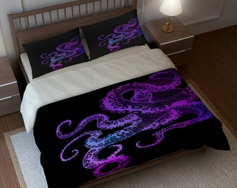 Octopus Bedding, Duvet Cover Set, Purple Color Crazy On Black