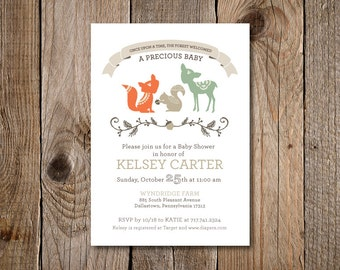 "Woodland Creatures Baby Shower Invitation: 5"" X 7"""