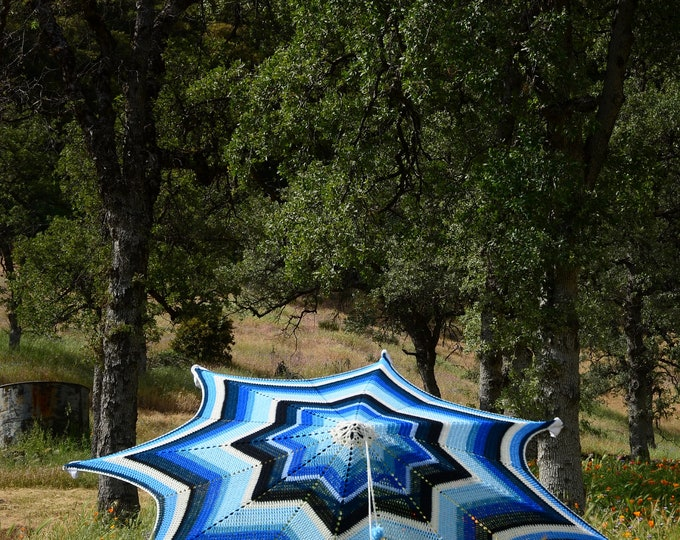 Crochet Patio Umbrella Shades of Blue--Croshade!--Cover Only No Hardware Included
