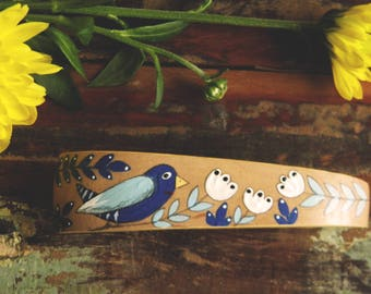 Handpainted Bird Barrette, Wooden Barrette With Hand Painted Bird, Floral Decorations,Blue And White Flowers, Hair Clip For Her,Natural Wood