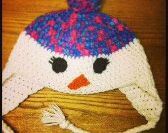 Toddler snowgirl earflap hat