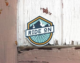 Ride On Mountain Biking   Vinyl Sticker Design