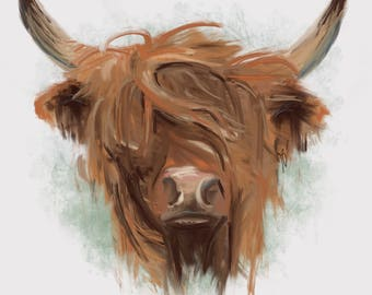 Art Print Matte A4 Highland Cow Oil Painting Style