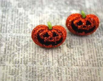 Pumpkin Earrings -- Pumpkin Studs, Halloween Earrings
