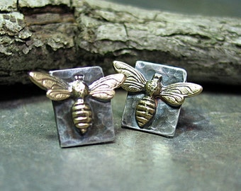 Bee earrings, bee stud earrings, sterling silver, studs, posts, brass bee, insect, nature jewelry - Bee My Honey