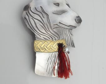 Saluki Dog Brooch