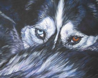 Siberian Husky dog art CANVAS print of LA Shepard dog painting 8x10 portrait