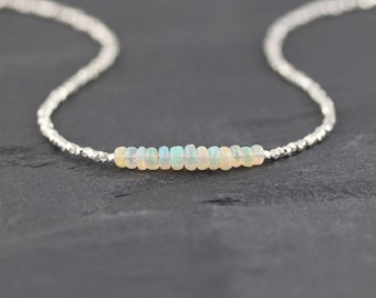 Ethiopian Welo Opal & Karen Hill Tribe Fine Silver Necklace. Beaded Sterling Silver Necklace. Gemstone Layering Necklace. Delicate Jewelry