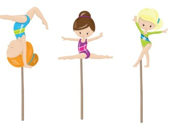 Gymnastics Cupcake Topper, Gymnastics Birthday cupcake topper, gymnastics picks, gymnastics cake topper, gymnastics theme, gymnastics party