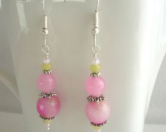 Fish hook earring with pink beads, dangle earring, drop earring, spring and summer jewelry
