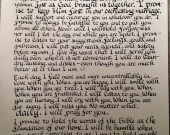 Wedding vows, Groom to Bride Gift, Anniversary Gift, Bride to Groom Gift, 18 x 24 inches, handwritten on acid free heavy paper