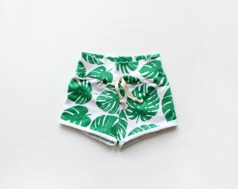 Palm Rolled Cuff Shorts / Kids Shorts / Palm Shorts / Tropical Clothes / Summer Shorts / Cuff Shorts / Tropical Shorts / Unisex Shorts