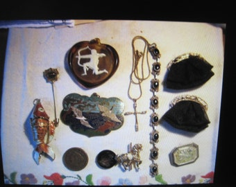antique / vintage jewelry lot of 11 pieces..fish, carousel, pins