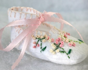 Pink Rosettes with Green Stem Stitching Booties