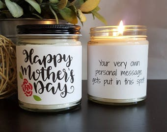 Happy Mothers Day Soy Candle, Scented Soy Candle Gift, New Mom Gift, Candle Gift, Personalized Candle, Gifts for Mom, Mothers Day Candle