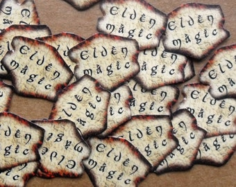 30 small loose peel back glitter dust labels / stickers 'Elven Magic' for glitter dust bottle charms and fairy crafts