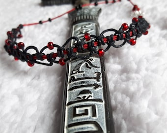 Foot-tie with blood-red beads, hand knotted with Lark's head knot, Gothic