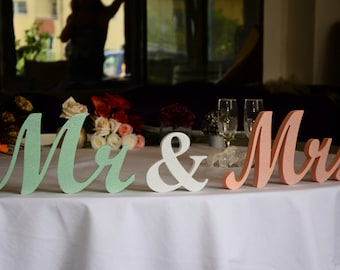 Mint and Peach  Mr. & Mrs.  letters glitter -  wedding table decoration, freestanding Mr and Mrs signs for sweetheart table. Mr Mrs