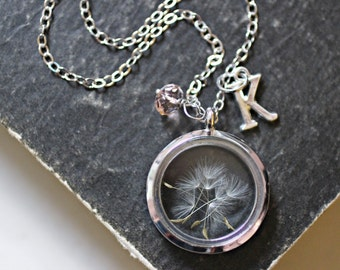Dandelion Necklace, Wish Necklace, Inspirational Jewelry, Dandelion Seed Necklace, Personalised Necklace, Glass Floating Locket Necklace