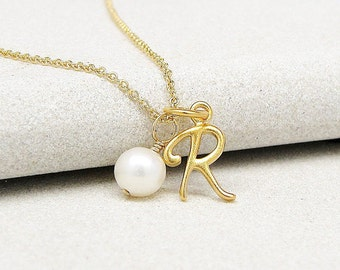 Gold Script Initial & Pearl Necklace - Initial Necklace - Personalized Necklace - Monogrammed Jewelry - Pearl Necklace