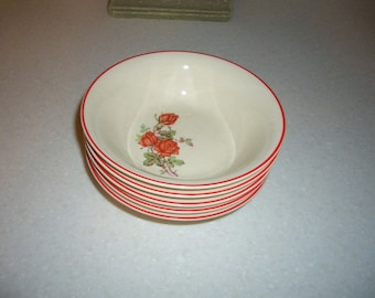 Five Vintage Universal Cambridge Small Bowls...American Beauty Rose...Made in the USA...Ovenproof