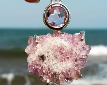 Amethyst and Amethyst Stalactite Sterling Silver Pendant - Boho, Gypsy, Raw, Crystal, Slice