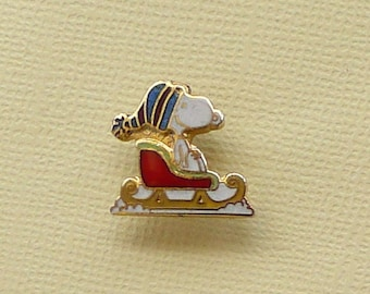 Vintage Snoopy on Sleigh Scatter Pin Lapel Pin Clutch Pin Enamel Cloisonne  2100